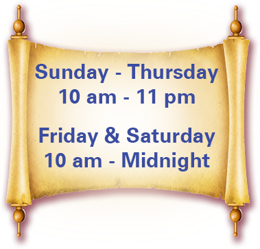 hours: sunday-thursday 9:30 am to 1 am, friday and saturday 9:30 am to 3 am